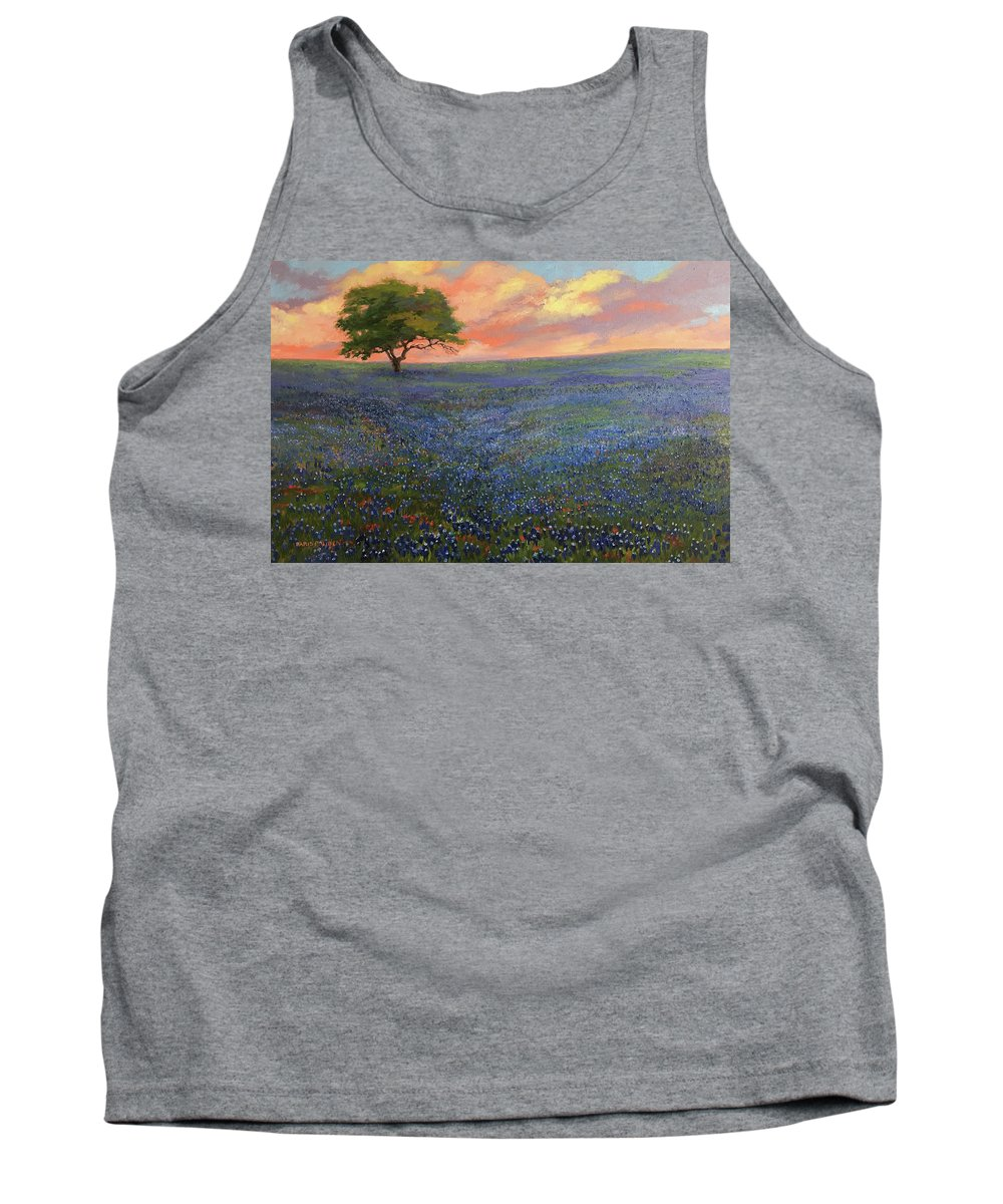 Bluebonnets Tank Top featuring the painting All About Bluebonnets by Nancy Paris Pruden