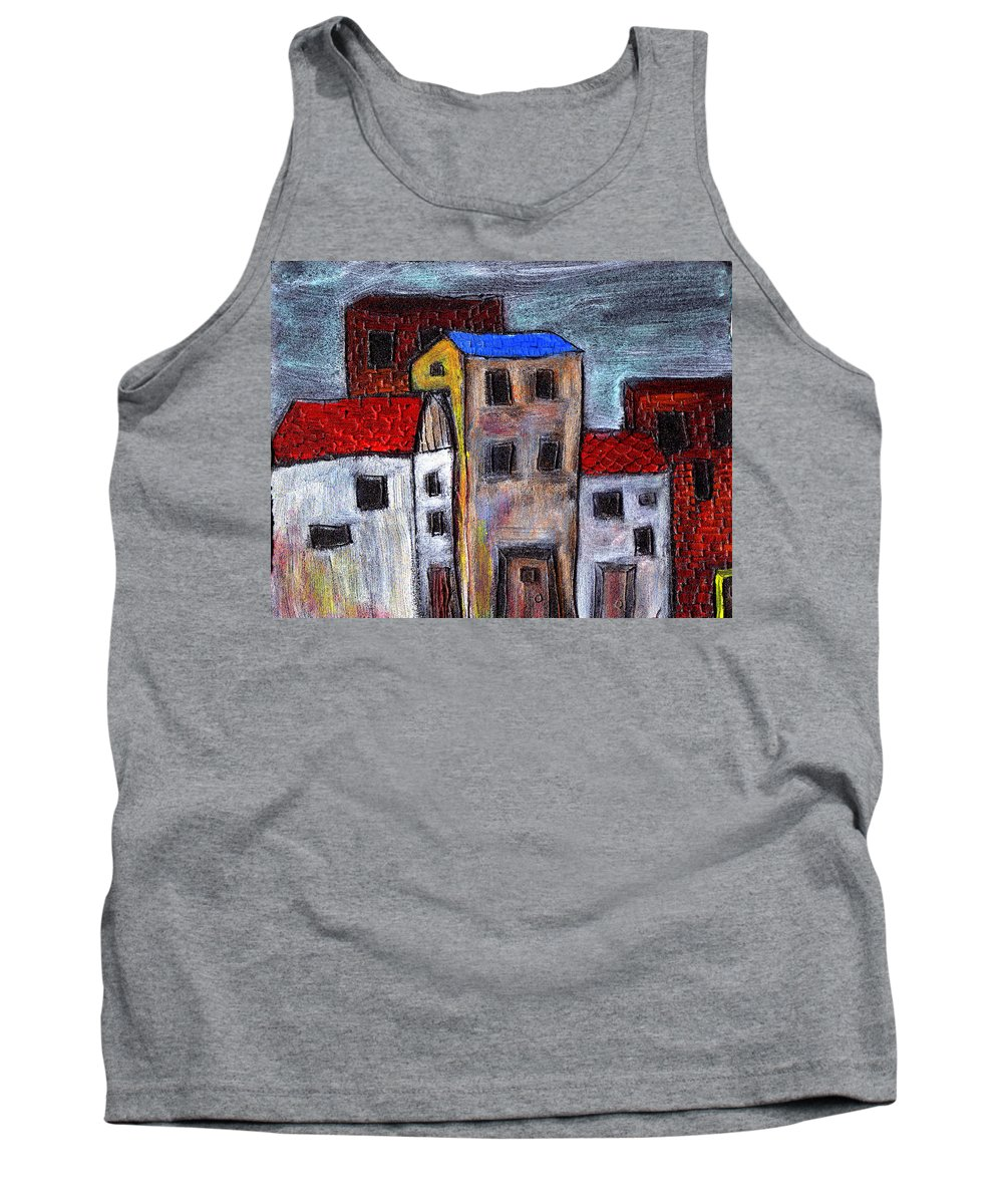 City Scene Tank Top featuring the painting Alley Doors by Wayne Potrafka