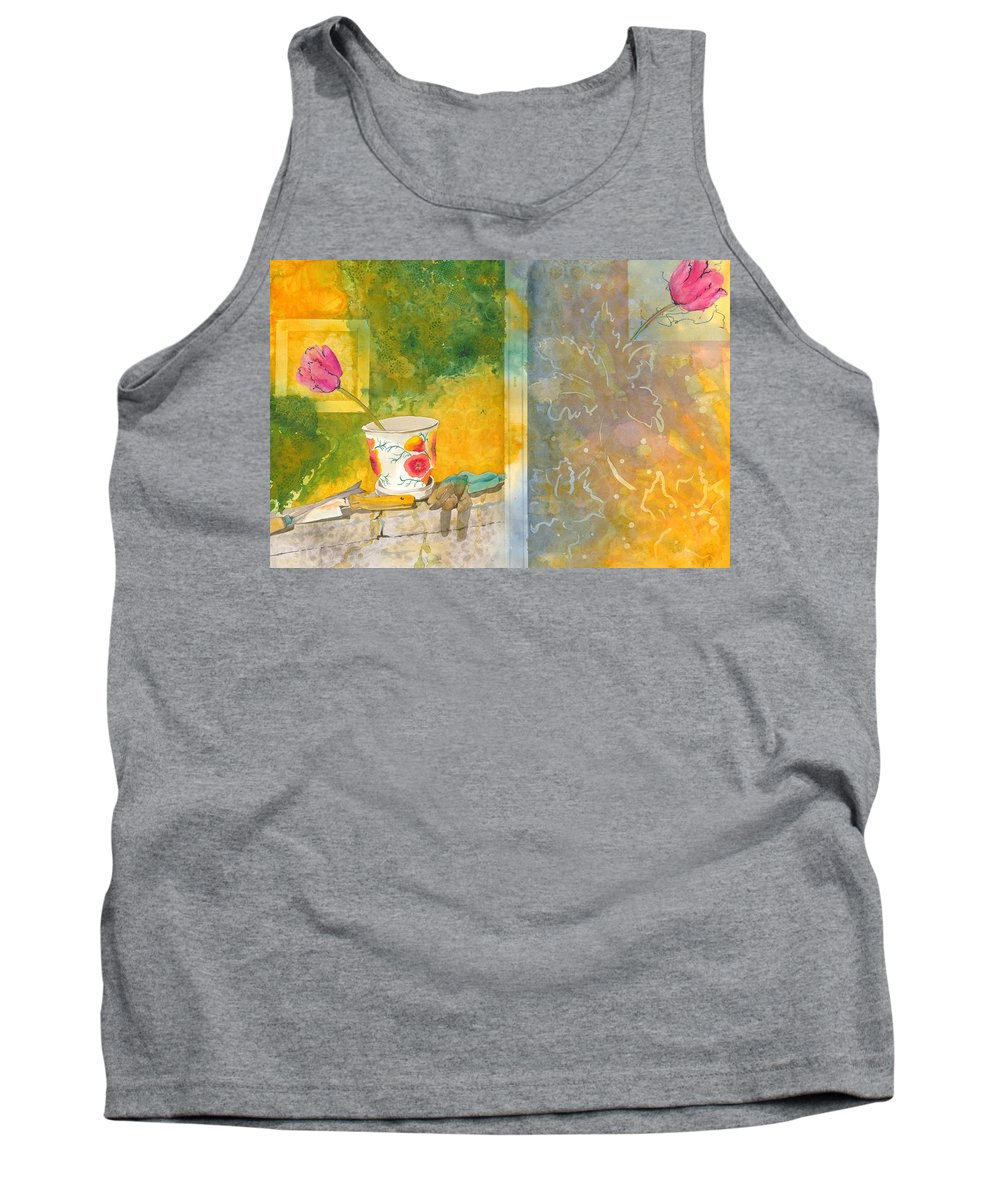 Garden Tank Top featuring the painting Along The Garden Wall by Jean Blackmer