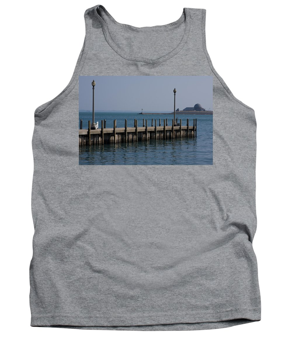 Chicago Windy City Lake Michigan Pier Water Sky Blue Tank Top featuring the photograph Along The Lakeshore by Andrei Shliakhau