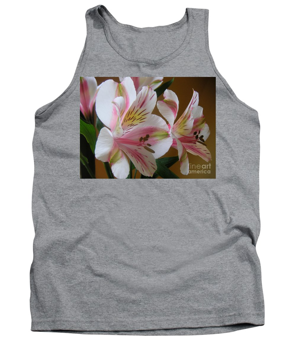 Nature Tank Top featuring the photograph Alstroemerias - Listening by Lucyna A M Green