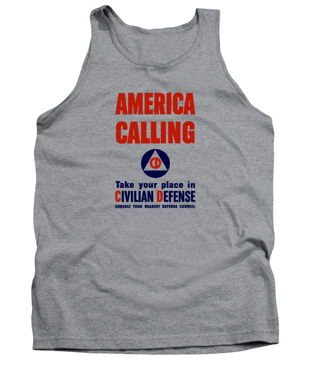 Civil Defense Tank Top featuring the painting America Calling -- Civilian Defense by War Is Hell Store