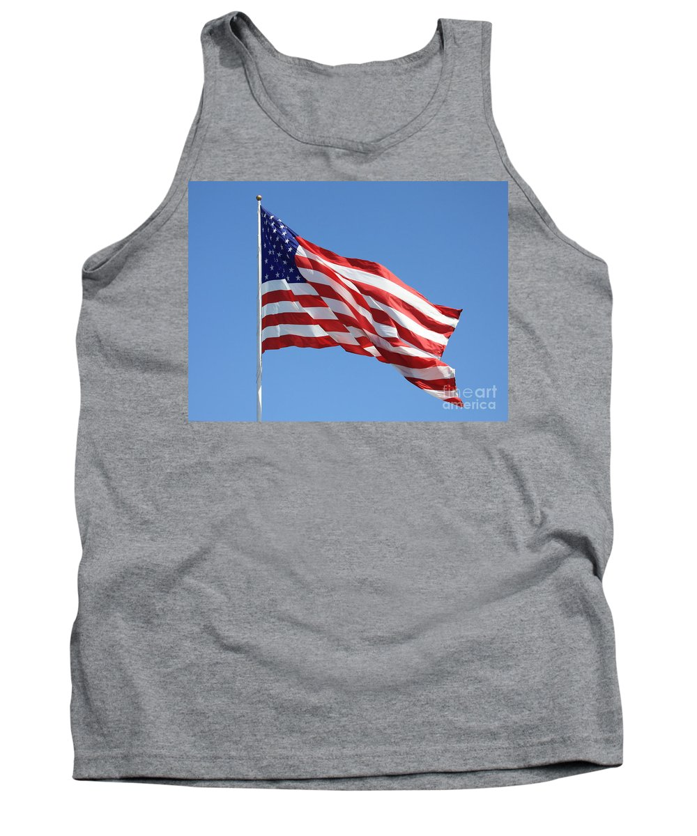 Flag Tank Top featuring the photograph American Flag by Carol Groenen