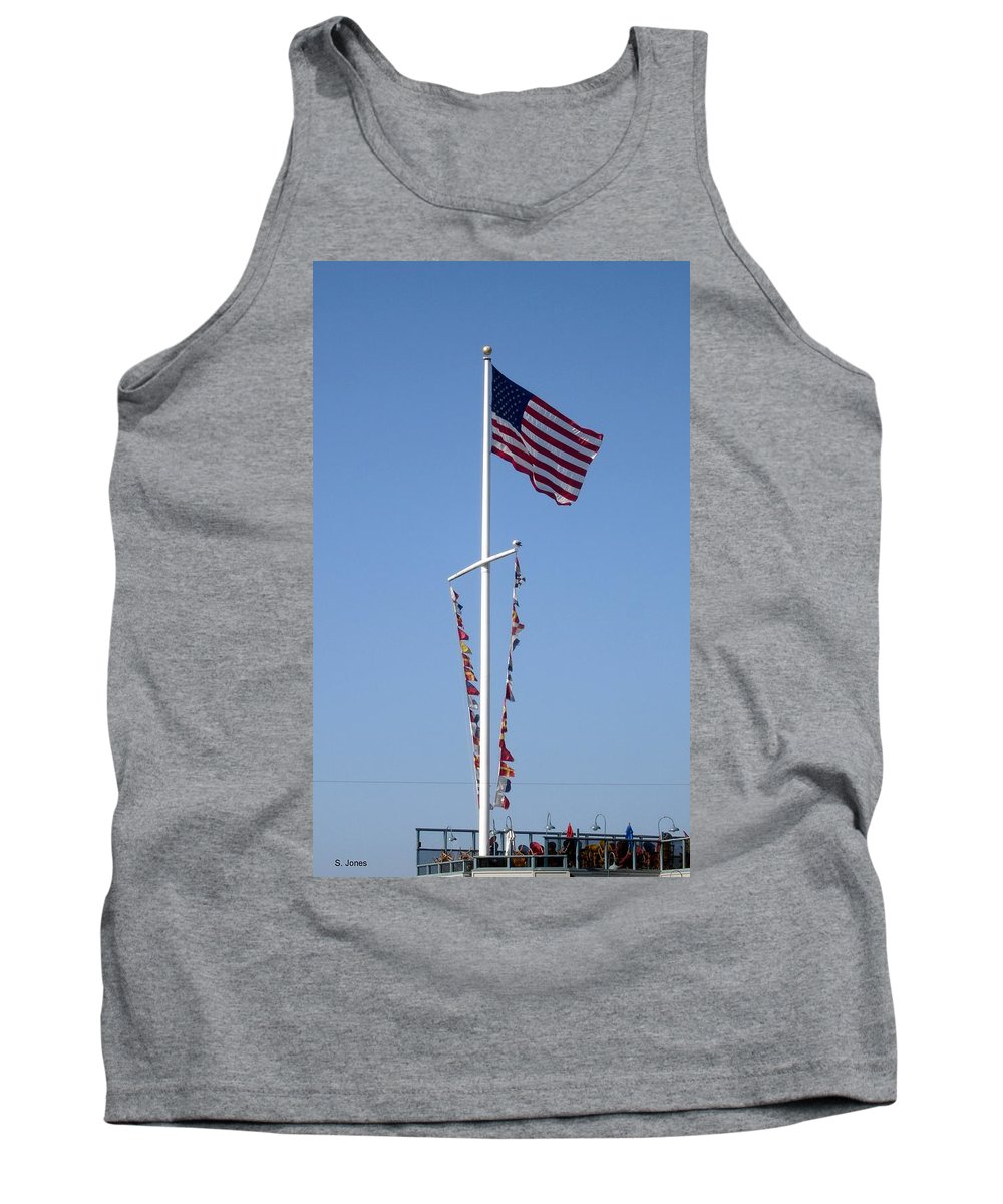 American Flag Tank Top featuring the photograph American Flag by Shelley Jones