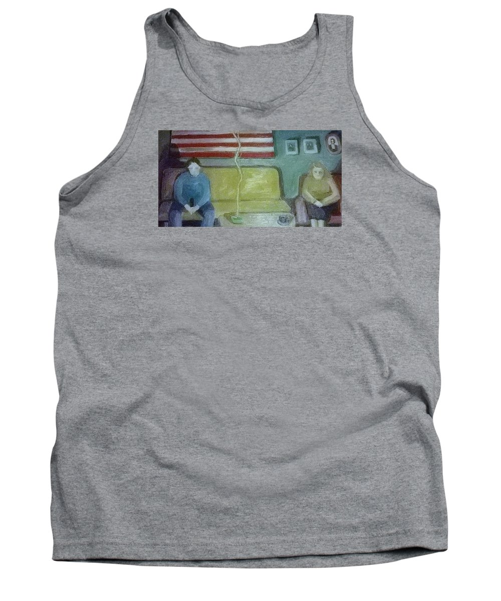 Portrait Tank Top featuring the painting American Marriage by Pat Gray