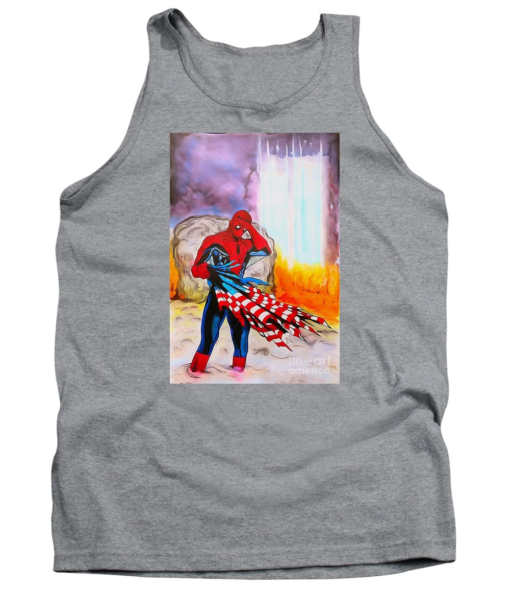 Justin Moore Tank Top featuring the digital art Ams 9/11 Tribute Illustration Edition by Justin Moore