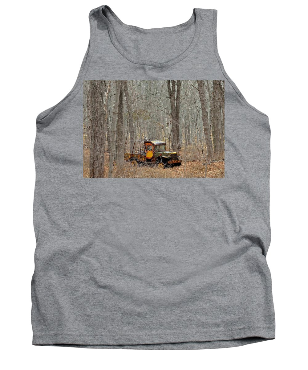 Dodge Tank Top featuring the photograph An Old Truck In The Woods. by Kurt Von Dietsch