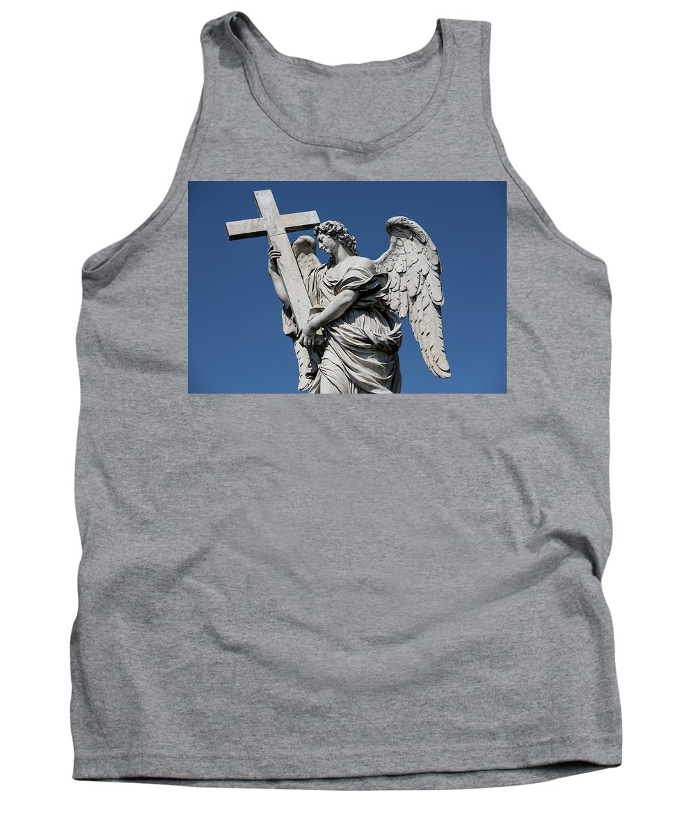 Rome Sculpture Statue Pont St�angelo Moon Night Europe European Italy Italia Rome Roma Roman Art History Historic Beautiful Style Romantic Romance Summer In Italy Landmark Monument Bridge Capital Tiber Angel With The Cross Ercole Ferrata Tank Top featuring the photograph Angel With The Cross by Michael Evans