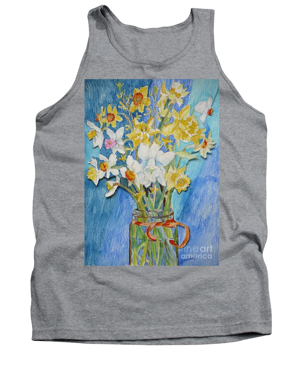 Flowers Tank Top featuring the painting Angels Flowers by Jan Bennicoff