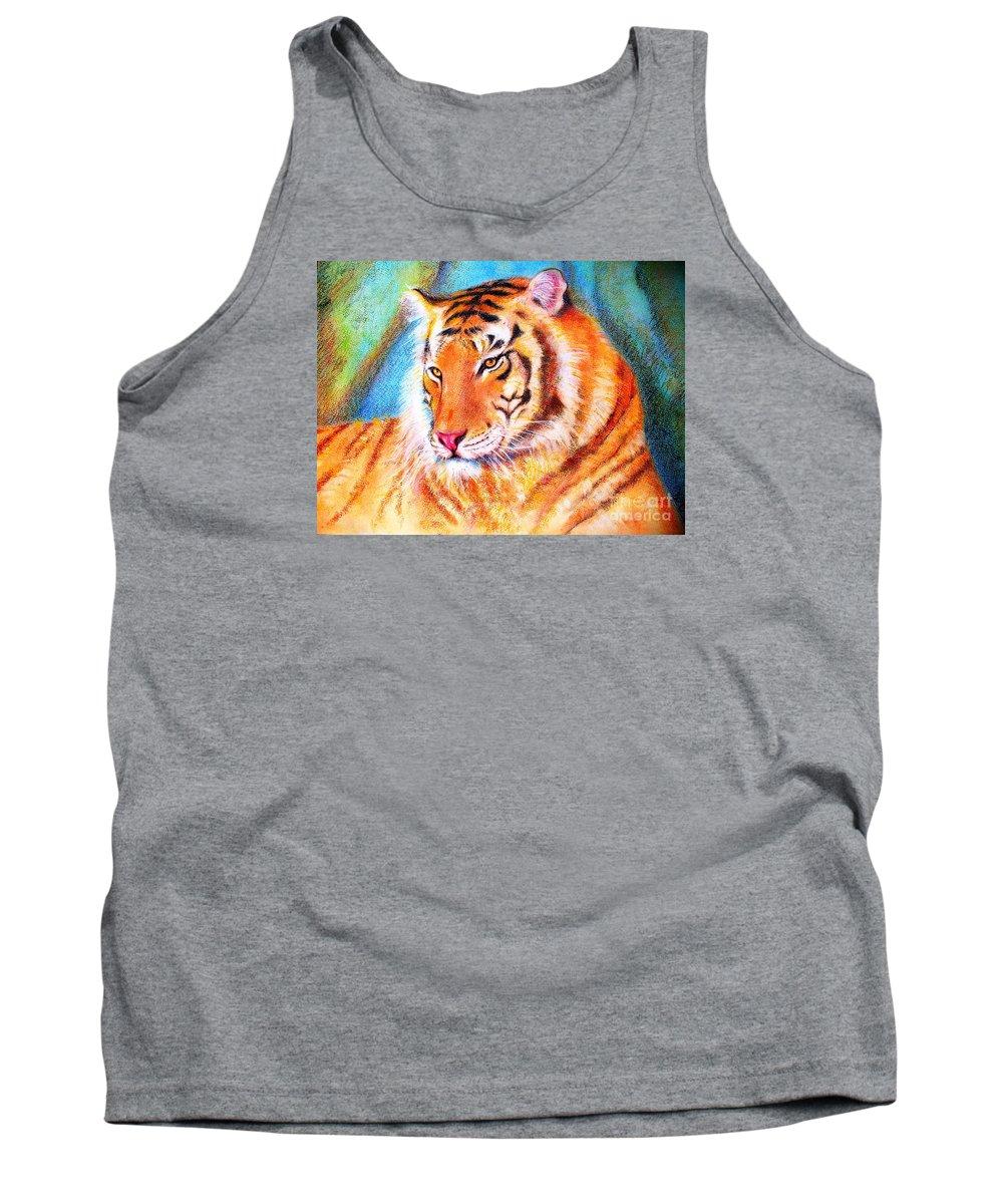 Animals Tiger Jungle Tank Top featuring the drawing Ano Do Tigre by Fernanda Cruz