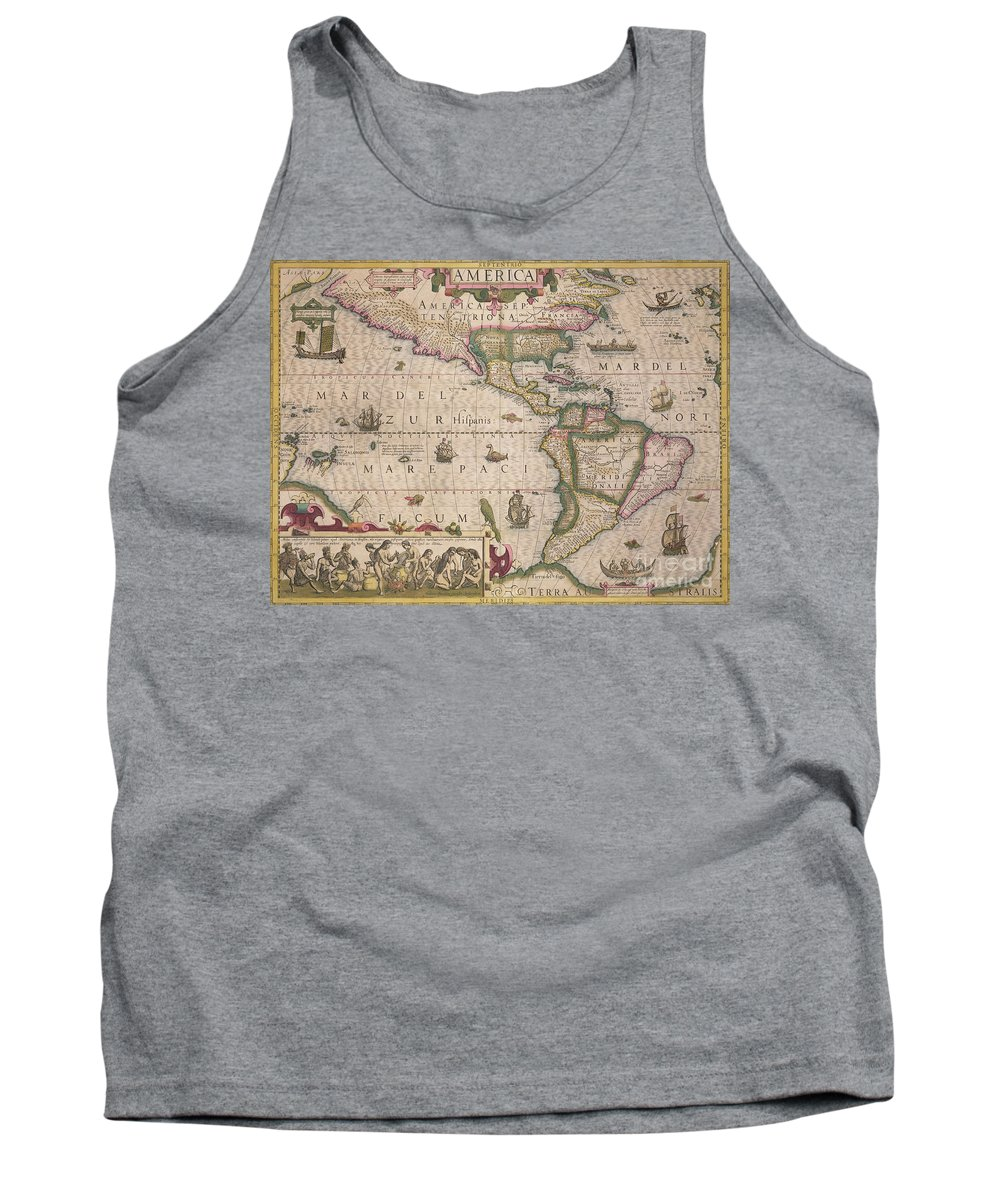 Maps Tank Top featuring the drawing Antique Map Of America by Jodocus Hondius