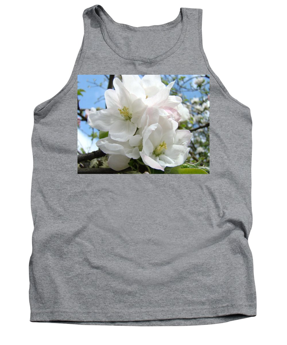 �blossoms Artwork� Tank Top featuring the photograph Apple Blossoms Art Prints Giclee 48 Spring Apple Tree Blossoms Blue Sky Macro Flowers by Baslee Troutman