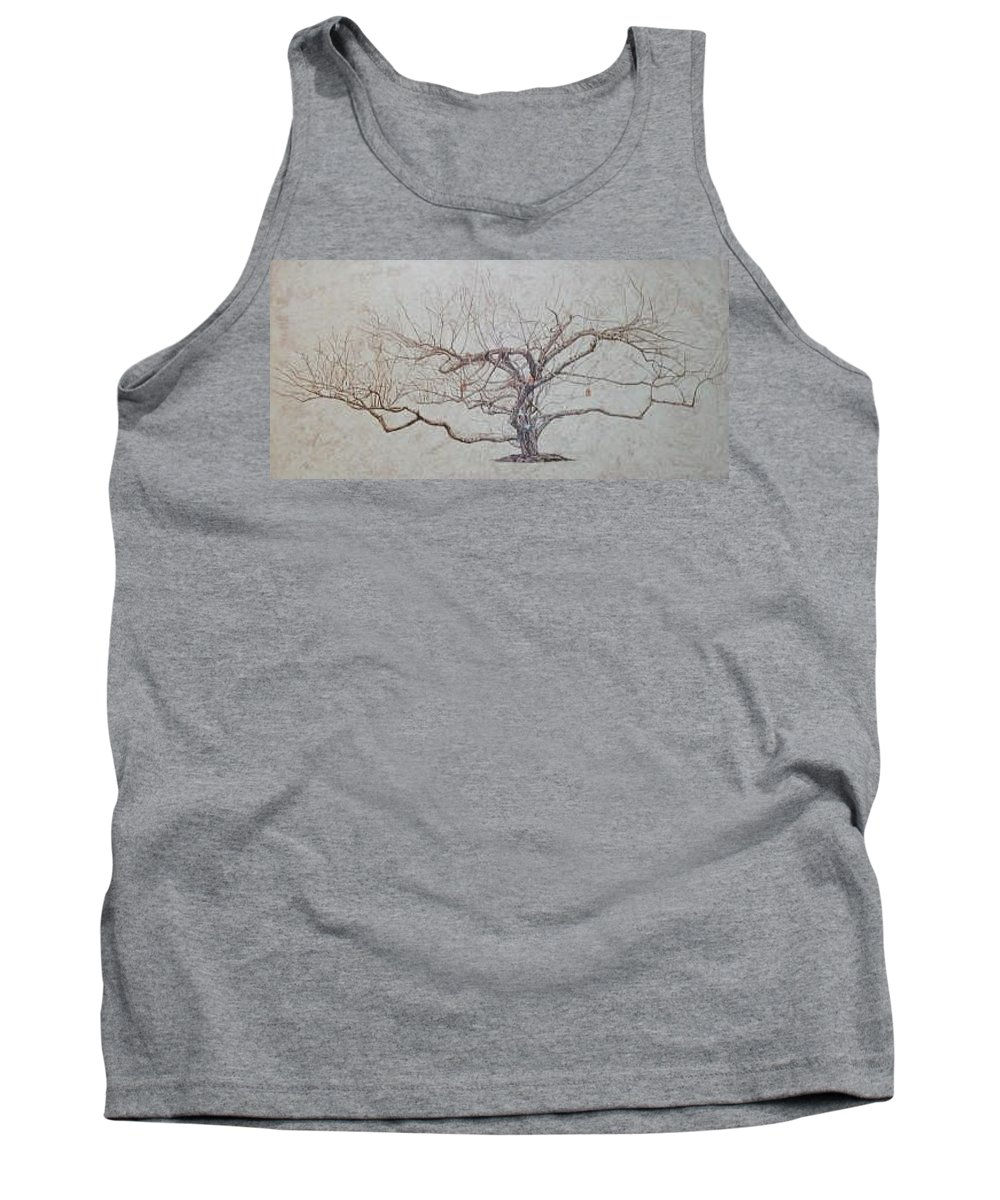Apple Tree Tank Top featuring the painting Apple Tree In Winter by Leah Tomaino