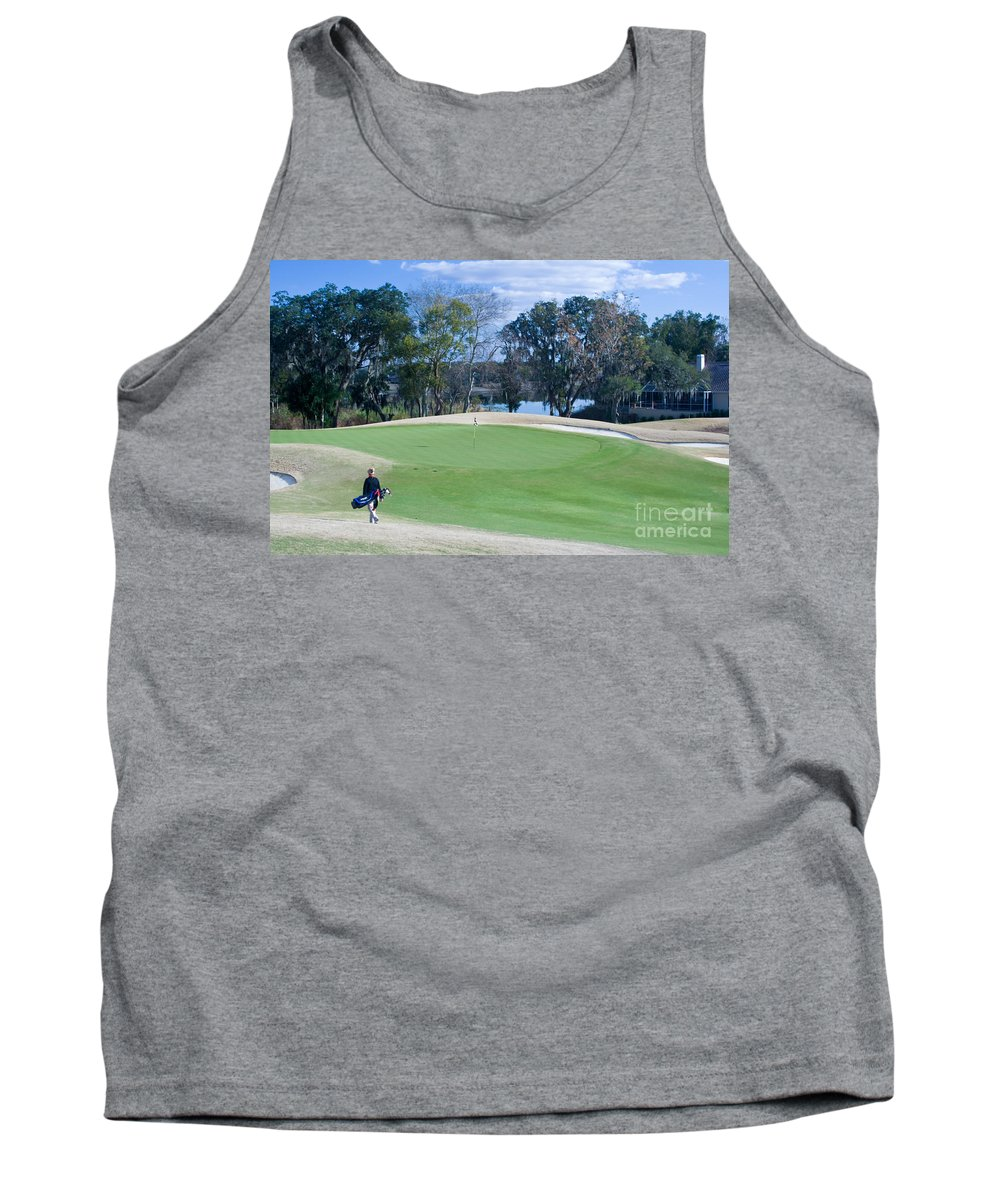 Golf Tank Top featuring the photograph Approaching The 18th Green by Thomas Marchessault
