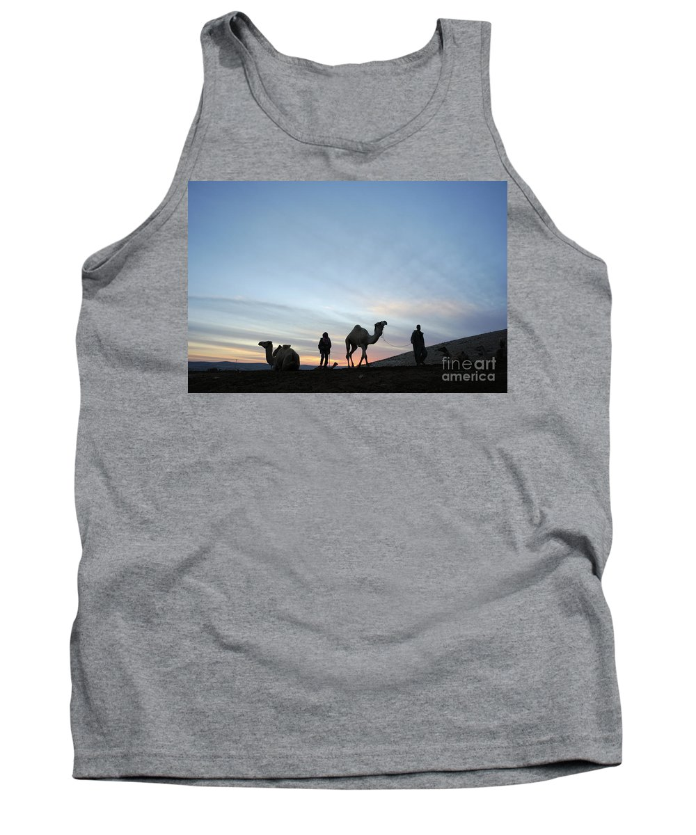 Middle East Tank Top featuring the photograph Arabian Camel At Sunset by PhotoStock-Israel