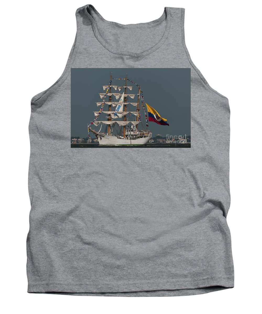 Colombian Tall Ship Tank Top featuring the photograph Arc Gloria Colombian Tall Ship by Dale Powell