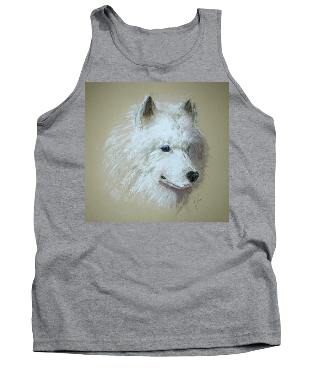 Dog Tank Top featuring the drawing Arctic Serenity by Cori Solomon