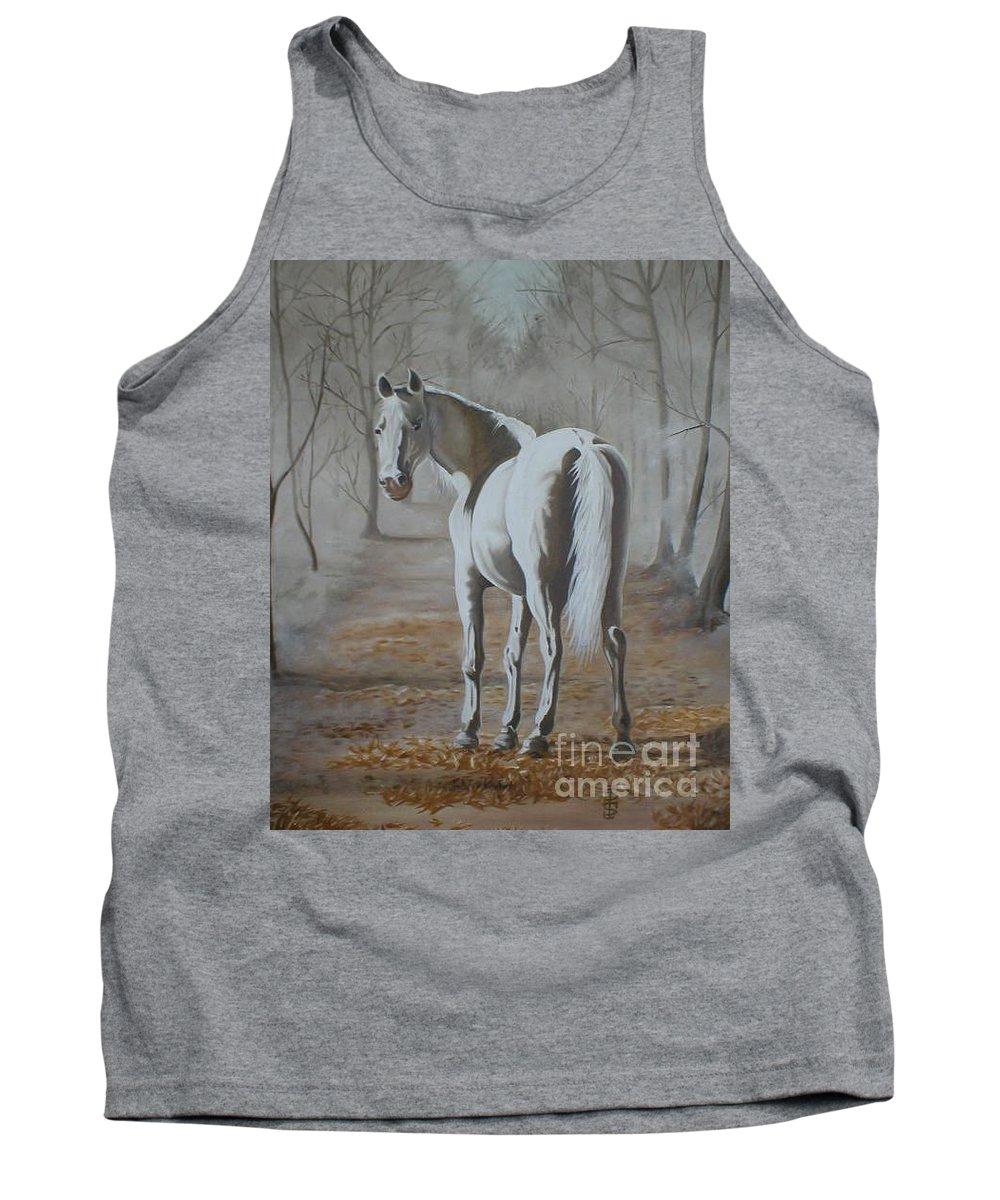 White Horse Looking Autumn Leaves Trees Avenue Shadows Tank Top featuring the painting Are You Coming by Pauline Sharp