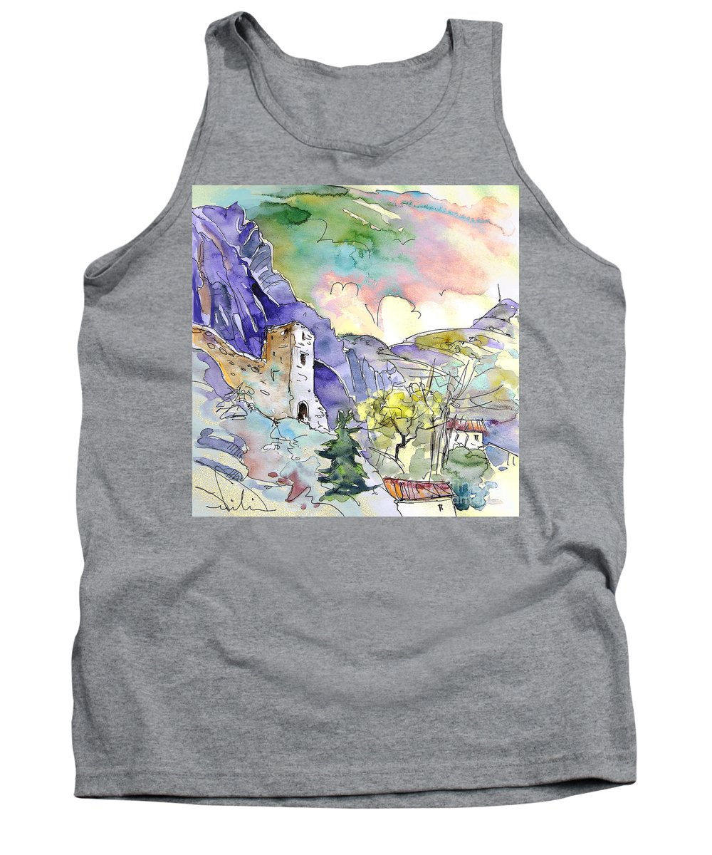 Arnedillo Tank Top featuring the painting Arnedillo In La Rioja Spain 03 by Miki De Goodaboom