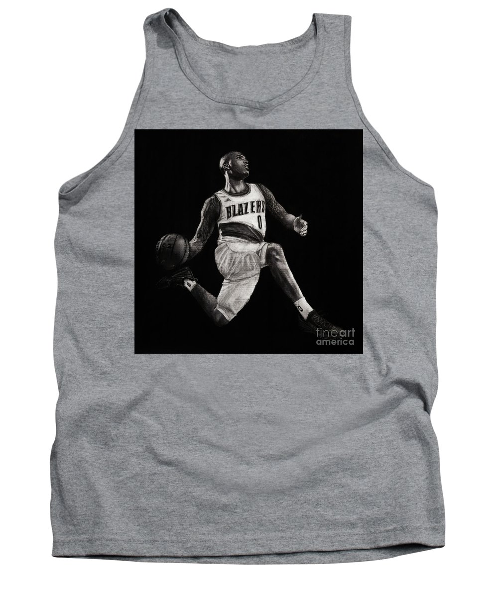 Basketball Tank Top featuring the drawing Art In The News- Lillard by Michael Cross