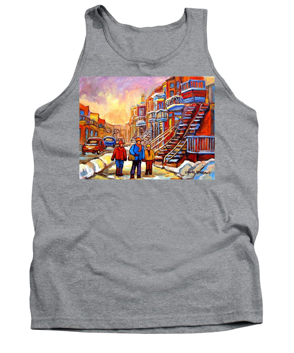 At The End Of The Day Tank Top featuring the painting At The End Of The Day by Carole Spandau