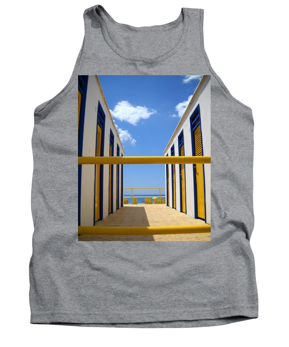 Blue Tank Top featuring the photograph At The Seashore 2 by Tom Reynen