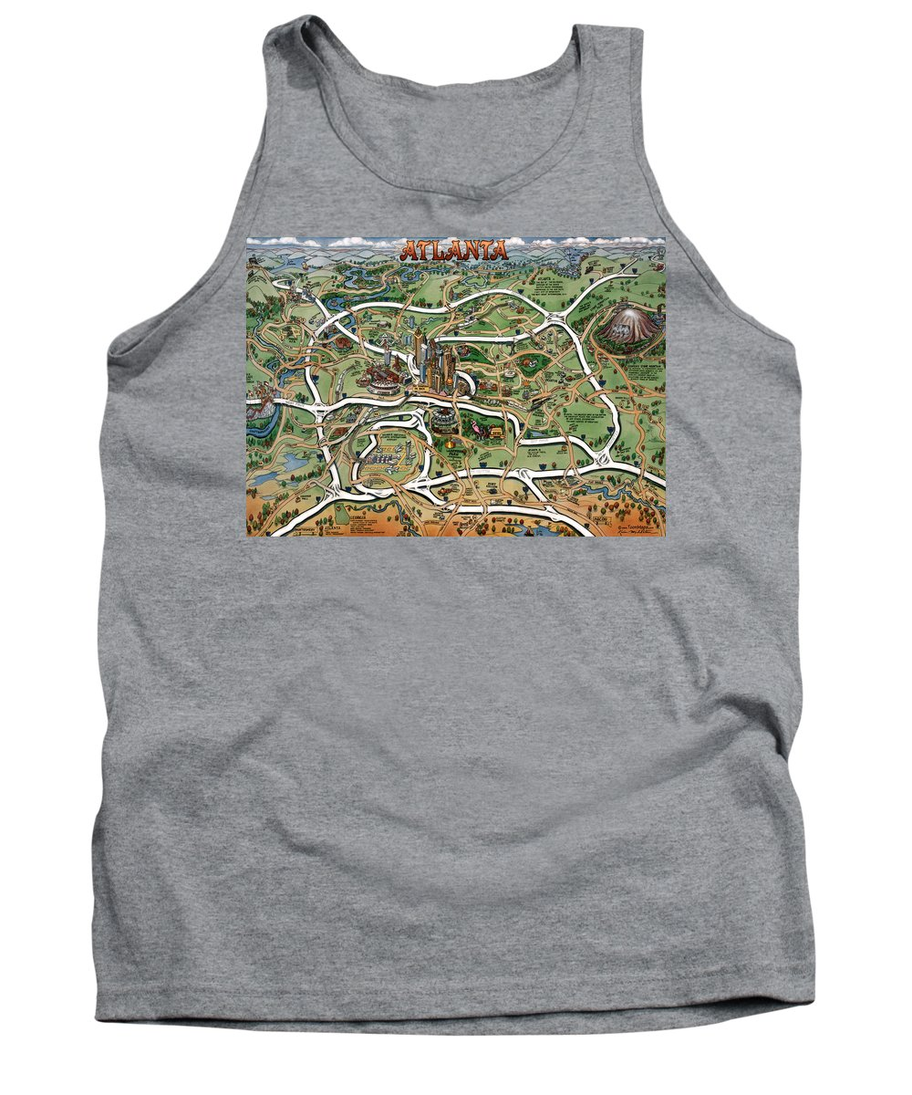 Atlanta Tank Top featuring the painting Atlanta Cartoon Map by Kevin Middleton