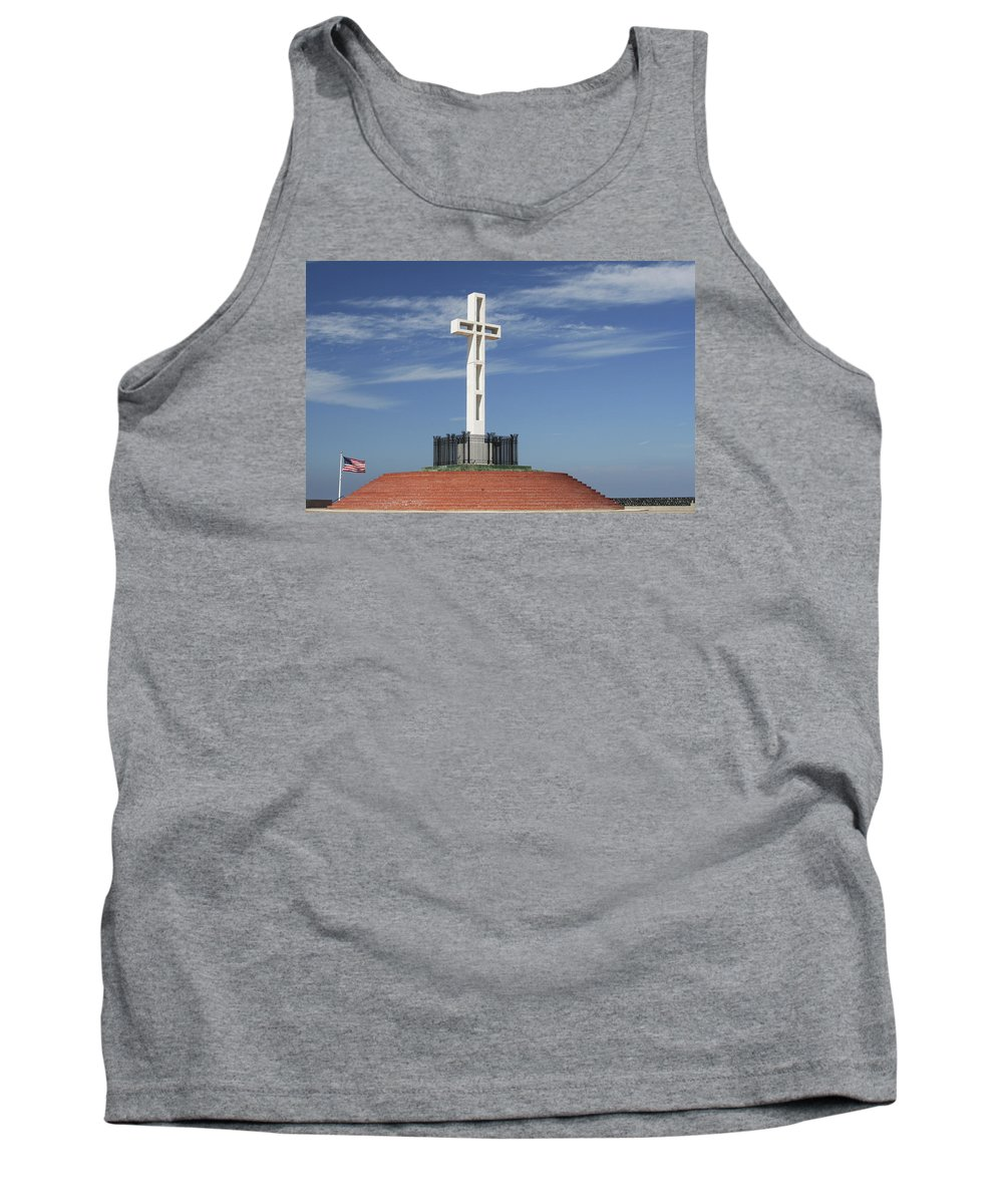 Mt Soledad Tank Top featuring the photograph Atop Mt Soledad by Margie Wildblood