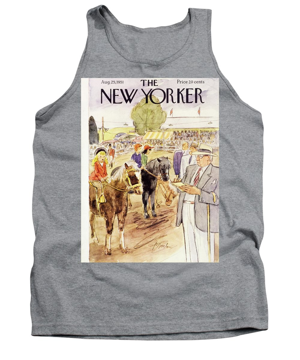 Horse Show Tank Top featuring the painting New Yorker August 25 1951 by Perry Barlow