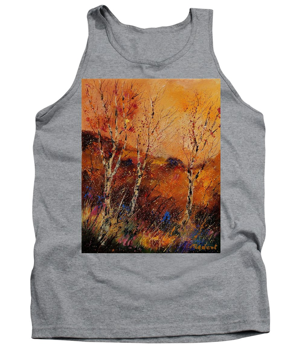Tree Tank Top featuring the painting Autumn Landscape 45 by Pol Ledent