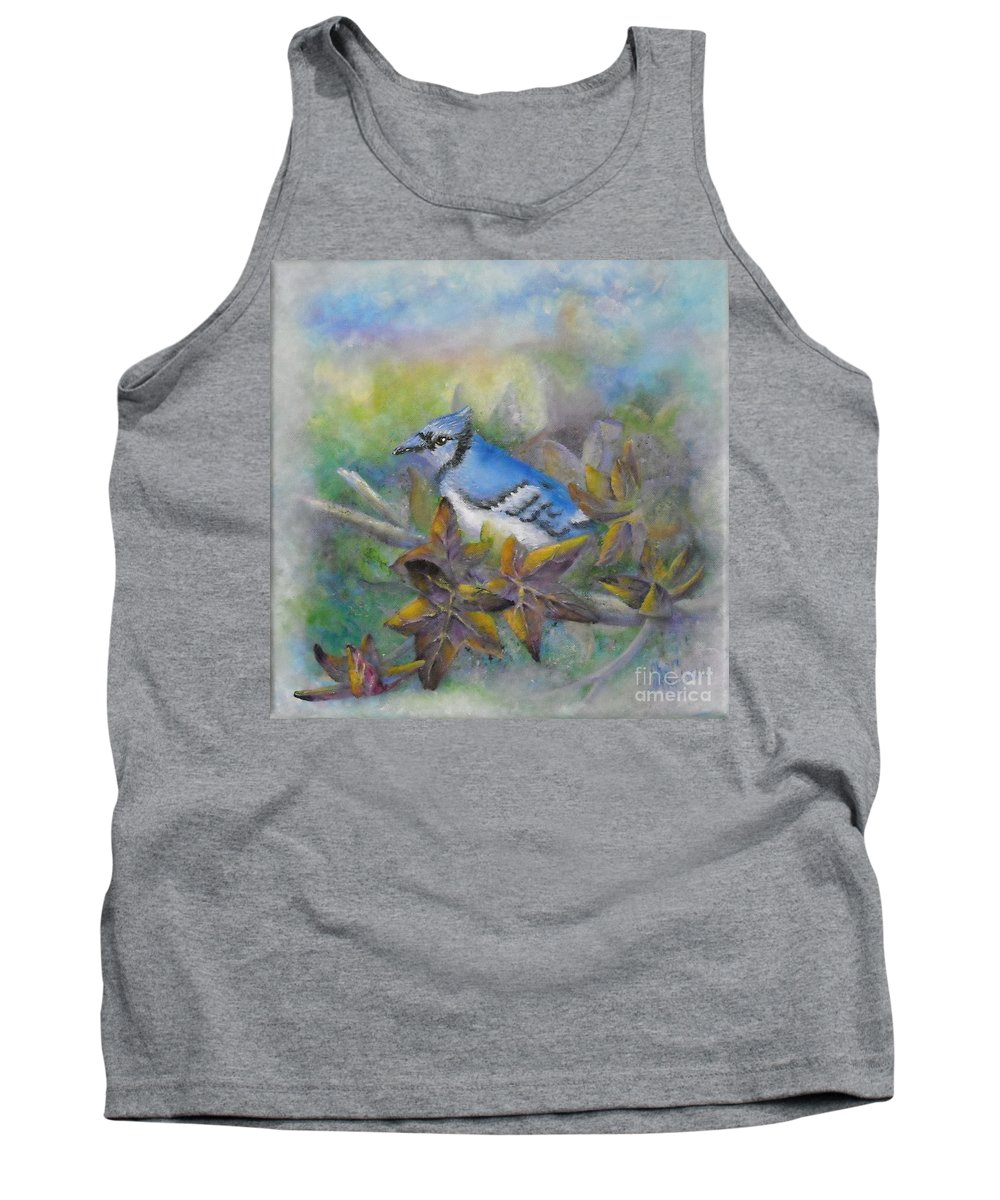 Autumn Tank Top featuring the painting Autumn Sweet Gum With Blue Jay by Sheri Hubbard