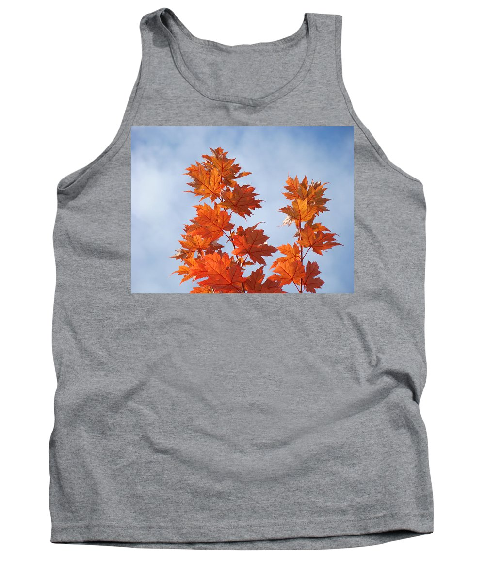 Autumn Tank Top featuring the photograph Autumn Tree Leaves Art Prints Blue Sky White Clouds by Baslee Troutman