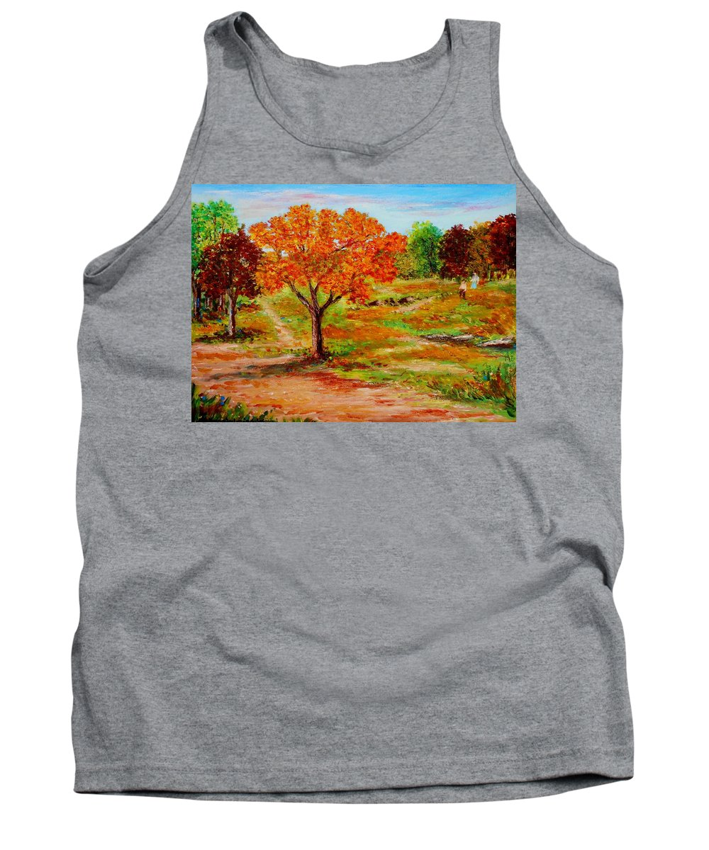 Landscapes Canvas Prints Originals Impressionism Pathways Acrylic On Canvastrees Tank Top featuring the painting Autumn Trees by Konstantinos Charalampopoulos