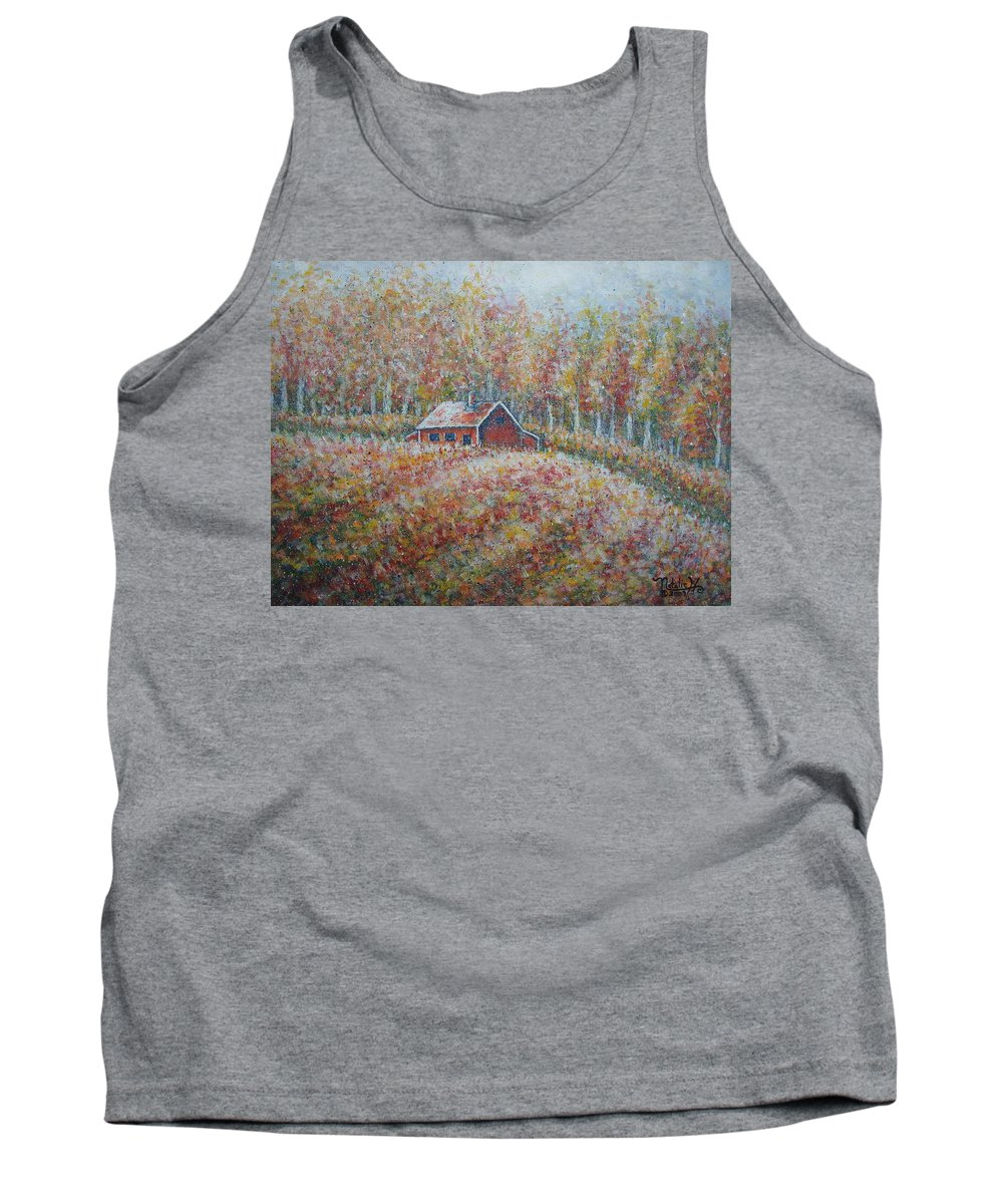 Landscape Tank Top featuring the painting Autumn Whisper. by Natalie Holland