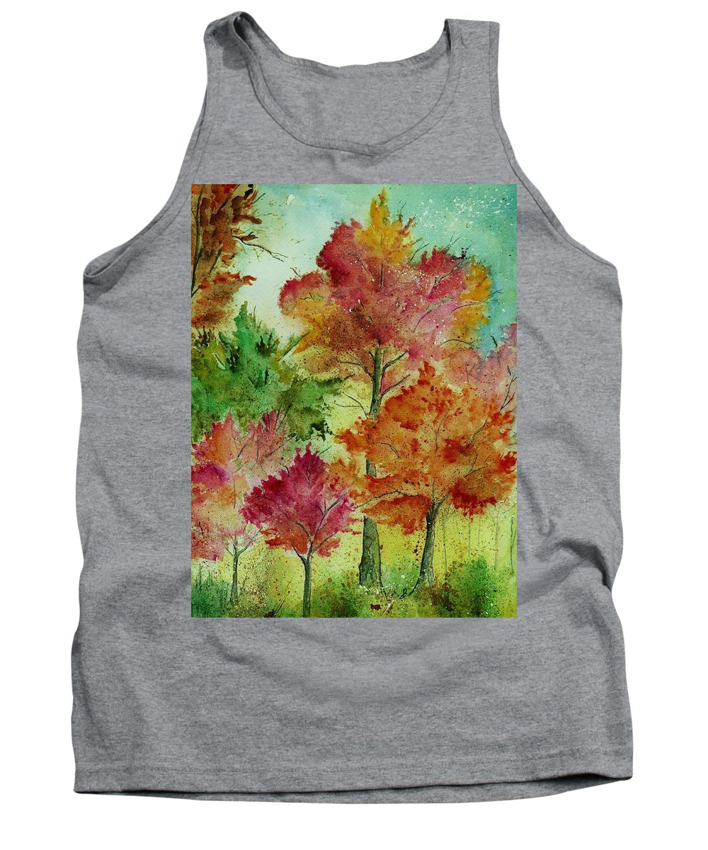 Landscape Tank Top featuring the painting Autumn Woods by Brenda Owen