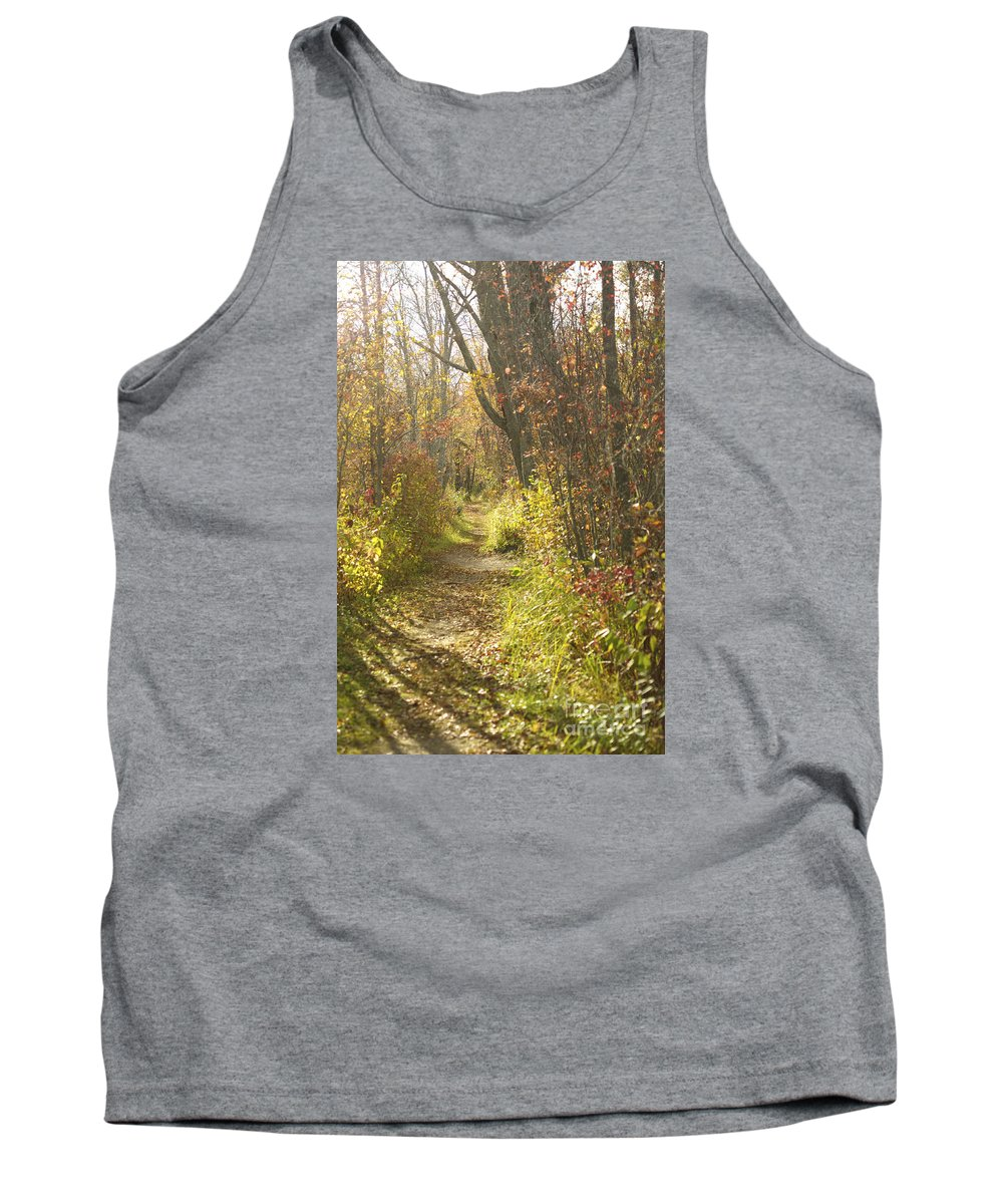 Path Tank Top featuring the photograph Autumns Path by Elaine Mikkelstrup