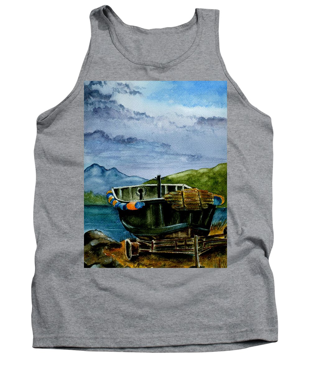 Watercolor Tank Top featuring the painting Awaiting The Season by Brenda Owen