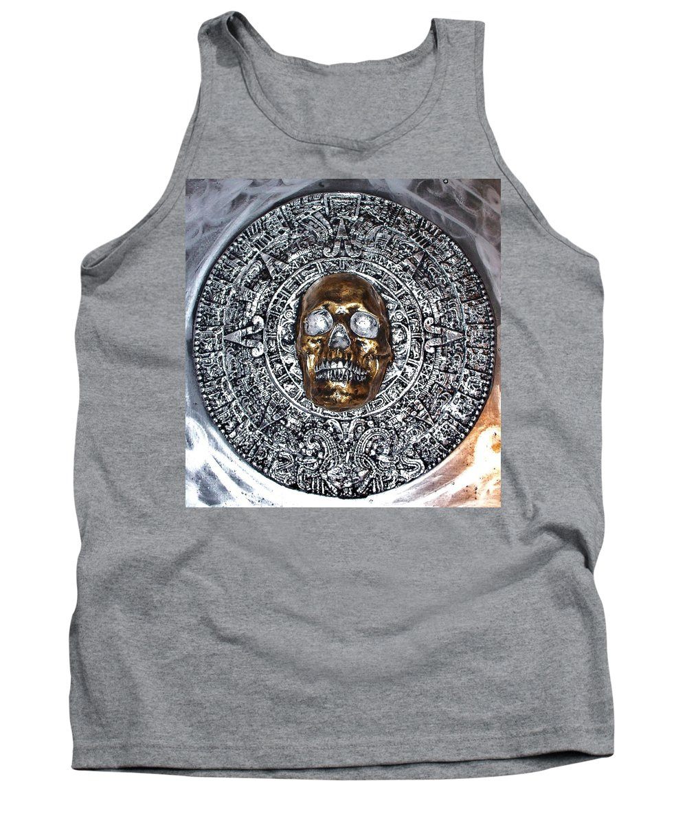 Hand Painted Plaster Sculpture Of Aztec/ Mayan Skull Warrior Calendar Relief Photo Tank Top featuring the photograph Aztec Mayan Skull Warrior Calendar Relief Photo by Americo Salazar