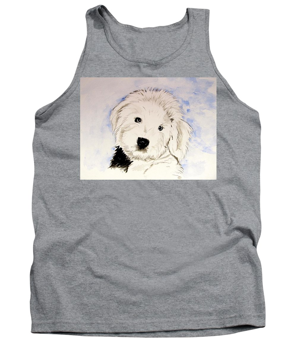 Old English Sheepdog Tank Top featuring the painting Baby Higgins by Carol Blackhurst