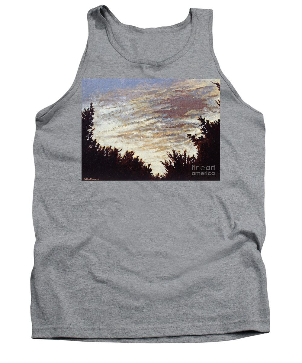 Landscape Tank Top featuring the painting Backyard Sunset by Todd Blanchard