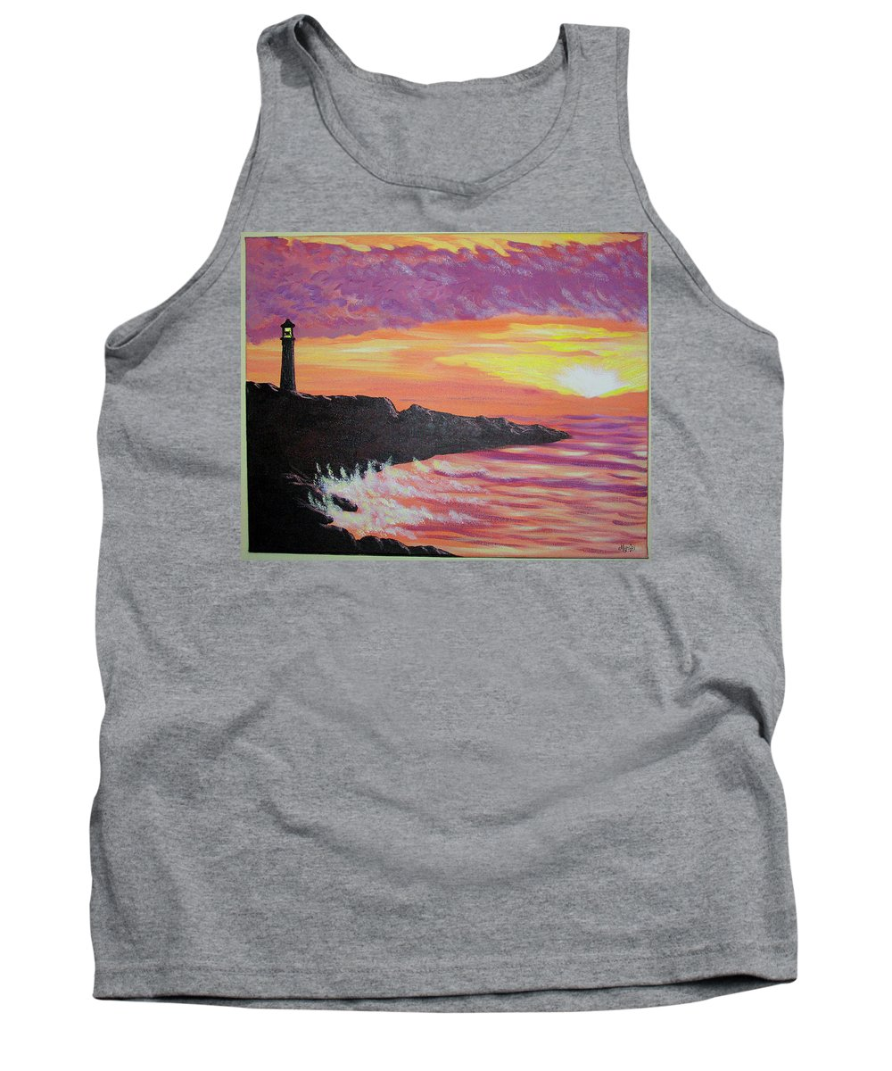 Seascape Tank Top featuring the painting Bahia At Sunset by Marco Morales