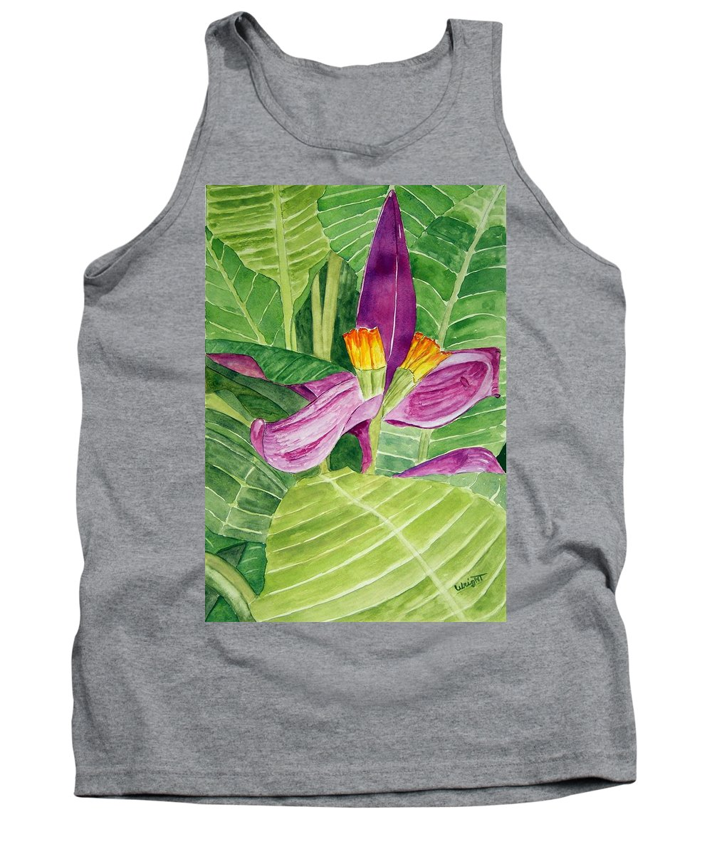 Flower Art Tank Top featuring the painting Bananas In October by Larry Wright