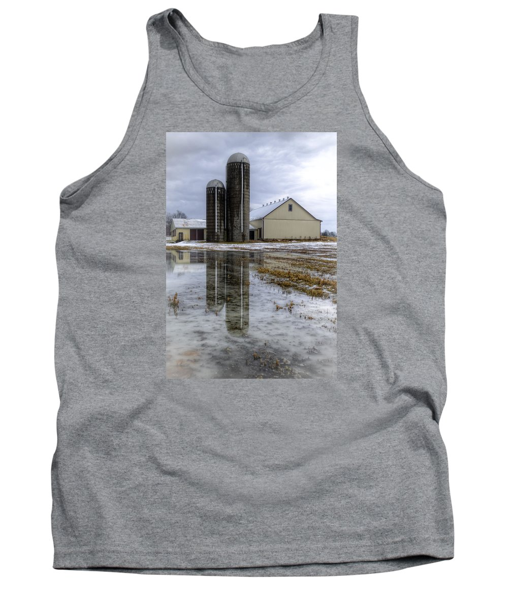 Barn Tank Top featuring the photograph Barn Reflection After A Snowstorm by Seth Dochter