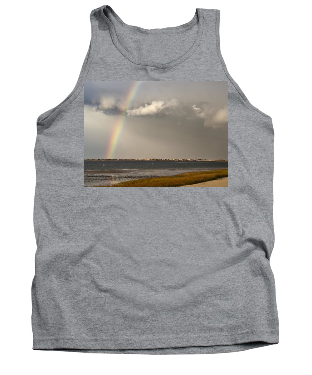 Rainbow Tank Top featuring the photograph Barnstable Harbor Rainbow by Charles Harden