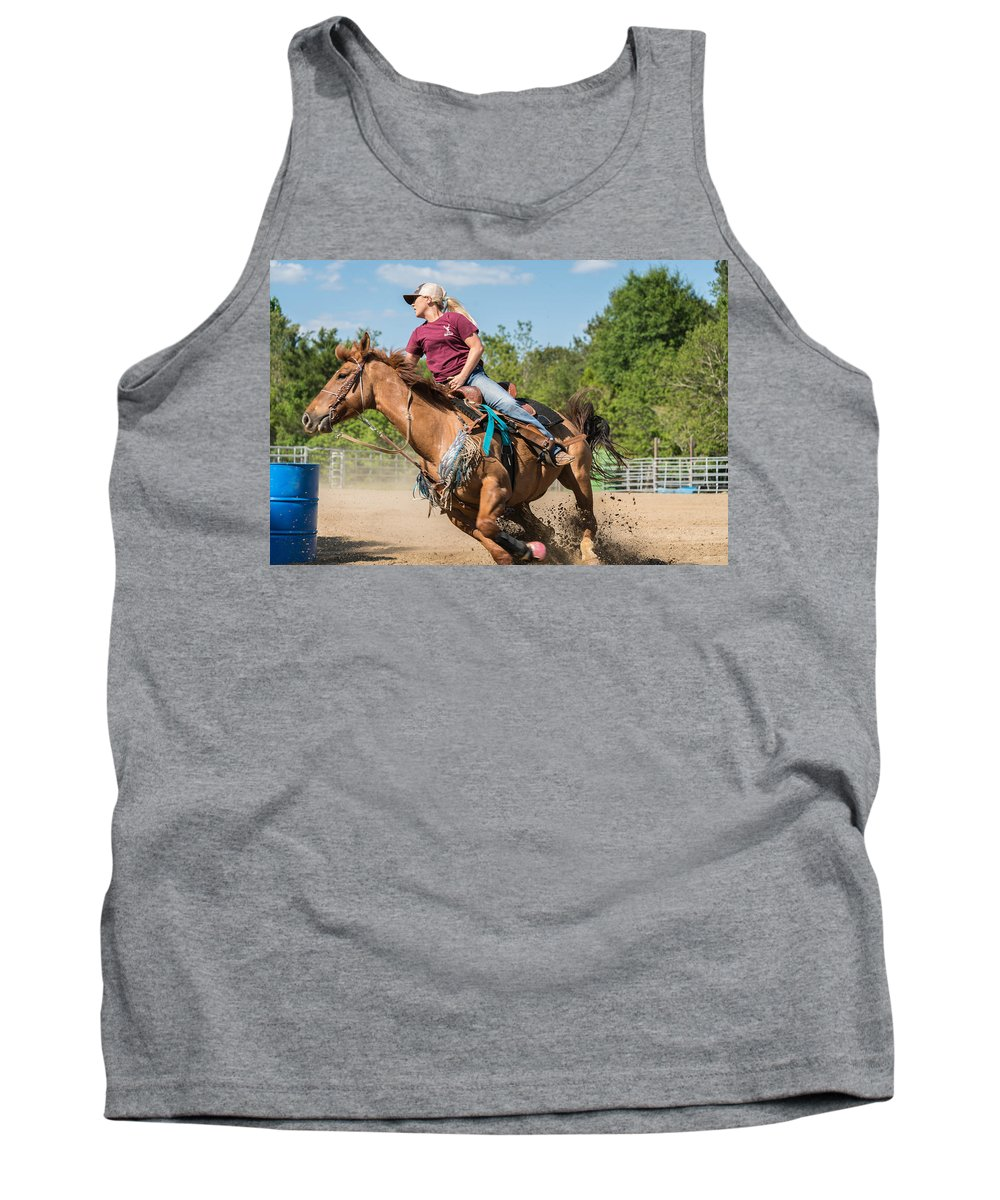 Rodeo Tank Top featuring the photograph Barrel Racing by Glenn Matthews