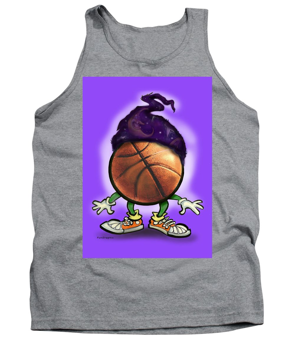 Basketball Tank Top featuring the greeting card Basketball Wizard by Kevin Middleton