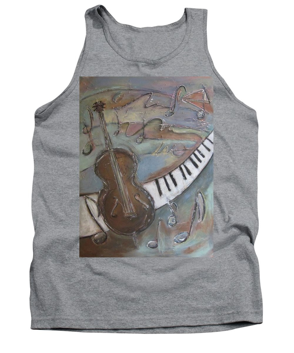 Painting Tank Top featuring the painting Bass And Keys by Anita Burgermeister