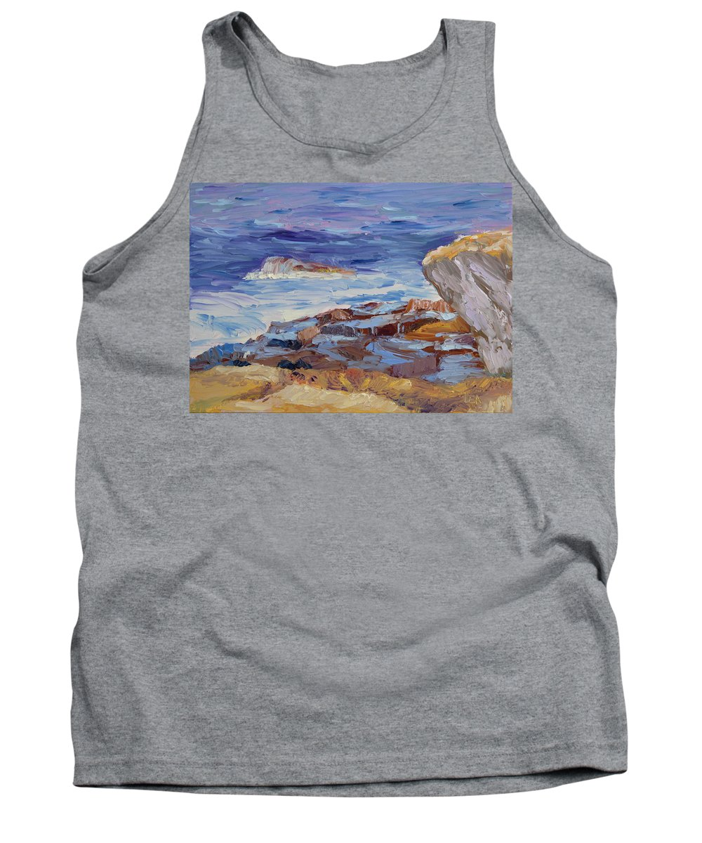 Seascape Painting Tank Top featuring the painting Bass Rocks by Lea Novak
