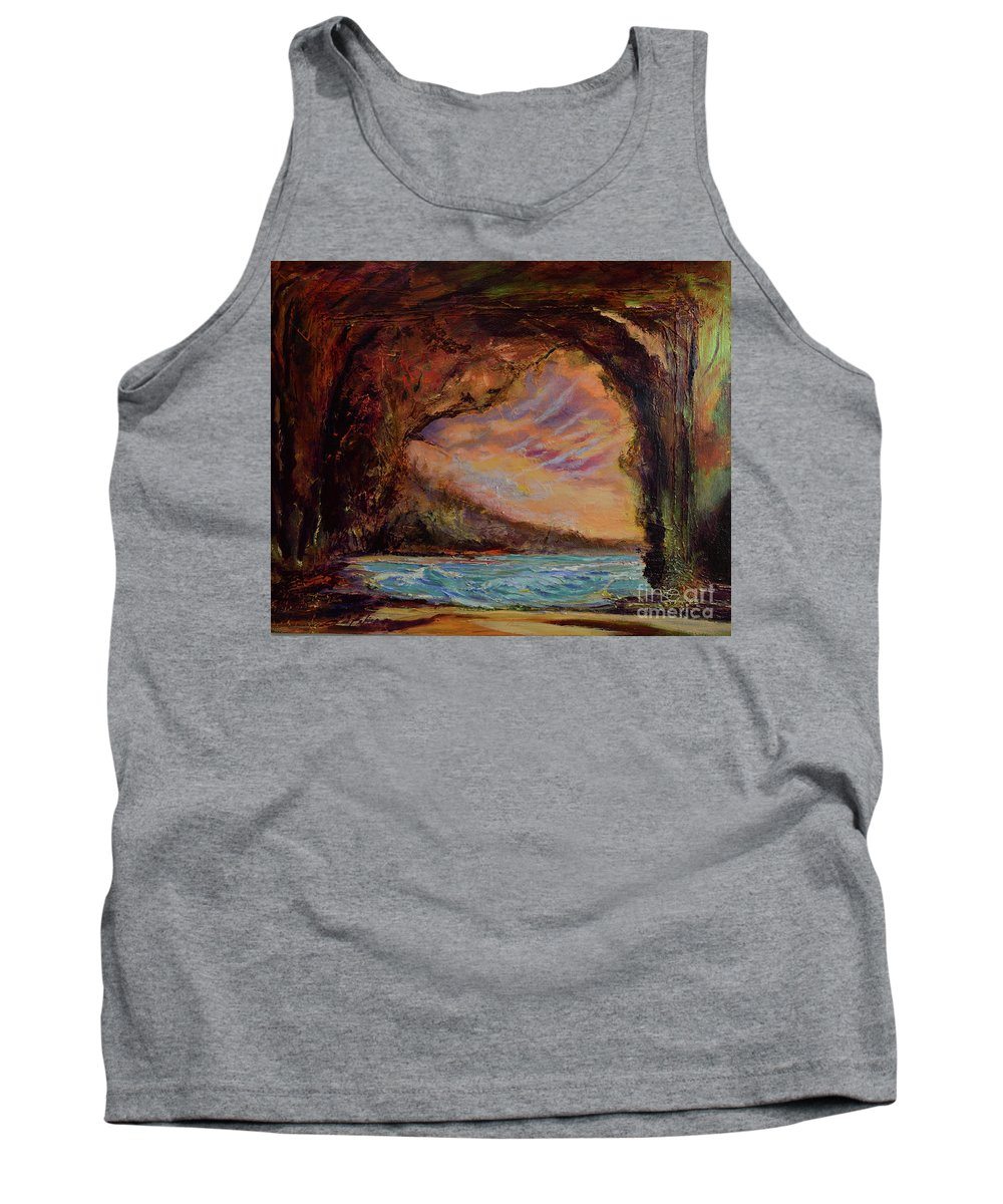 Art Paintings Tank Top featuring the painting Bat Cave St. Philip Barbados by Julianne Felton