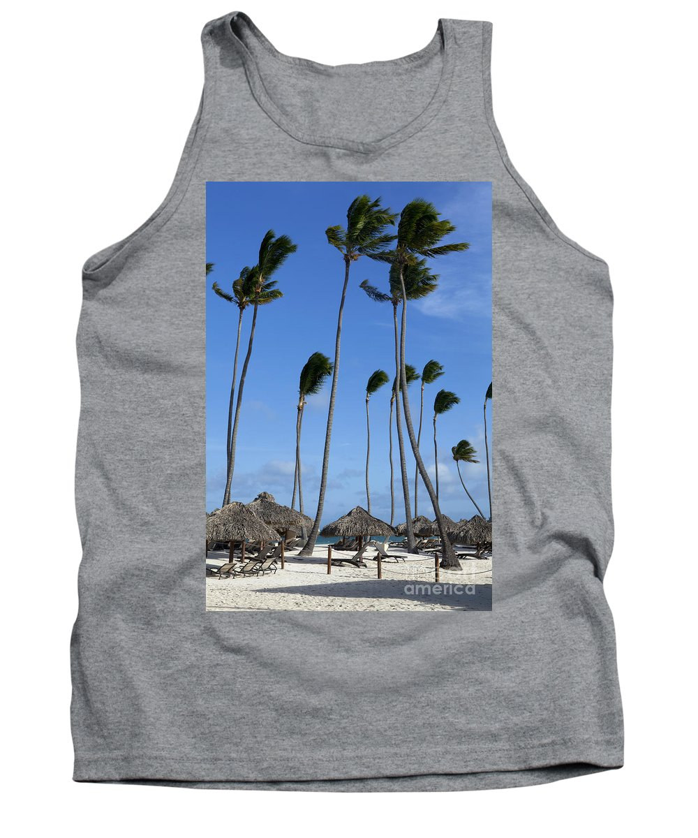 Beach Tank Top featuring the photograph Beach Cabanas And Palm Trees by Anthony Totah
